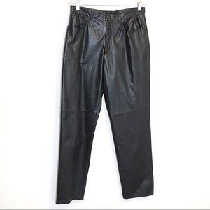 Jones NY Leather High Waist Black Pants 14